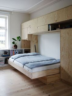 The wonderful design of a small space home small furniture and small house design, small home design, minimalist home design, apartment design Small Space Living, Small Spaces, Cama Murphy, Murphy Beds, Home Room Design, House Design, Loft Beds For Small Rooms, Plywood Interior, House Rooms