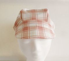 Newsboy newsgirl brimed hat coral peach and white by stitchinghook
