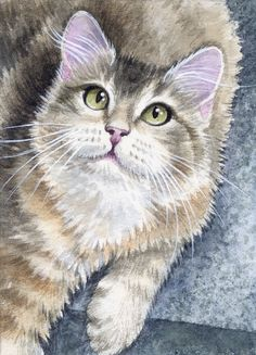 ACEO Original Miniature Watercolor Painting Cats by Elena Mezhibovsky #Miniature