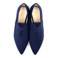 Vinnie Blue Faux Suede Flat Lace Up Vegan Shoes | Beyond Skin