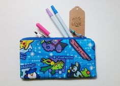 Pencil Case – Blue Pokemon Fully Lined Pencil Pouch – a unique product by gooseygoosey on DaWanda Pencil Pouch, Pouches, Pokemon, Coin Purse, Wallet, Unique, Pretty, Handmade, Blue