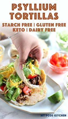 Low Carb Almond Flour Keto Tortillas Recipe – My PCOS Kitchen Ever made tortillas using psyllium husk powder before? They'll make the BEST low carb tortillas ever! Best Low Carb Recipes, Low Carb Dinner Recipes, Diet Recipes, Healthy Recipes, Keto Dinner, Bread Recipes, Diet Meals, Kitchen Recipes, Healthy Breads
