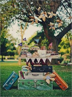 Ways to use vintage suitcases in a party