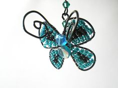 Rear View Mirror Charm Butterfly Teal Blue Black by CassieVision