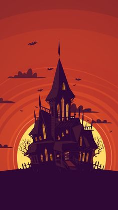Weird Castle In Moon Draw iPhone Wallpapers