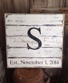 Established Sign, Family Sign, Rustic Sign, Rustic Decor, Rustic Wedding, Last Name Sign, Sign has Initial date & The _____ Family, 18X16 by SimplymadesignsbyB on Etsy
