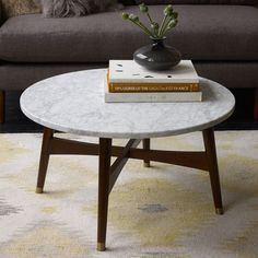 Reeve Mid-Century Coffee Table - Marble/Walnut. Lux it up with some marble. Round coffee table to break up all the angles