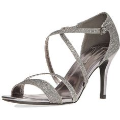 Dorothy Perkins Pewter 'Blitz' sandals (43 AUD) ❤ liked on Polyvore featuring shoes, sandals, grey, strap shoes, gray shoes, grey shoes, glitter sandals and gray sandals