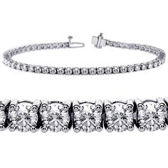 6.00 CT TW 4 Prong Round Diamond Tennis Bracelet in 14k White Gold (F-G-color/VS2-SI1-clarity) ** Find out more about the great product at the image link. (This is an Amazon Affiliate link and I receive a commission for the sales)