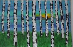 Birken am Sonnenuntergang  120x80cm / 47,24 x 31,5inch von OtteElisabeth auf Etsy