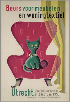 Vintage Utrecht cat illustration.
