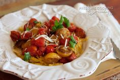 Spaghetti Squash with Roasted Balsamic Cherry Tomatoes Pressure-Cooking-Today
