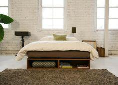 End of bed shelves built in. http://furnitursite.com/tag/double-storage-bed-design/