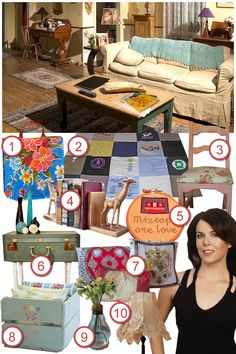 Sadie from Sadie Seasongoods recreates the style of Lorelai's living room from the set of the Gilmore Girls: