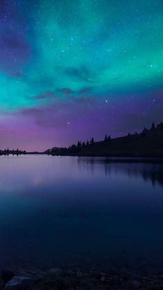 ↑↑TAP AND GET THE FREE APP! Nature Night at Lake Colorful Landscape Sky Aurora Amazing Mystic Bright Stars Dark River Multicolored HD iPhone 6 plus Wallpaper