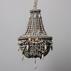 Classic Distressed Wood Beaded Basket 3-Light Chandelier Ceiling Lamp Fixture