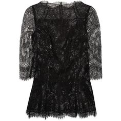 Erdem Narissa lace top ($476) ❤ liked on Polyvore featuring tops, blouses, shirts, lace, black, 3/4 sleeve tops, 3/4 sleeve shirts, scalloped shirt, lace blouse and 3/4 sleeve lace shirt