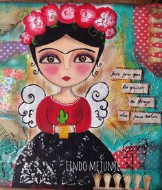 Collage friducha cactucera Mexican Artists, Mexican Folk Art, Decoupage, Frida And Diego, Painted Flower Pots, Poster Prints, Art Prints, Whimsical Art, Creative Art