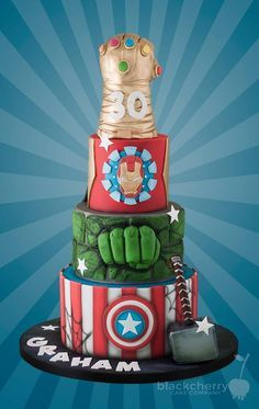Marvelous Avengers and The Infinity Gauntlet Wedding Cake made by Little Cherry Cake Company Pastel Marvel, Pastel Avengers, Avengers Wedding, Marvel Wedding, Avengers Birthday Cakes, Superhero Birthday Cake, Cake Images, Cake Pictures, Cake Pics