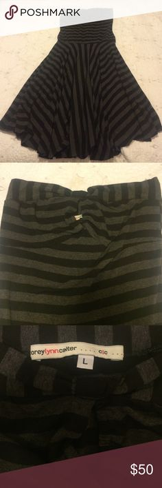 PRICE REDUCED!! Anthropologie Strapless Dress Black & gray striped dress by corey lynn calter. Keyhole opening on top. Material has good weight to it. corey lynn calter  Dresses Strapless