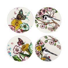 Wagtails Spring Glasunderlägg Ø9cm 4-pack, Nadja Wedin Design
