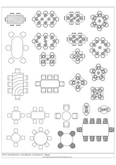 Architectural Drawings FIA Furniture CAD Blocks 07 Tables - A selection of free cad blocks, featuring tables and chairs in plan Architecture Symbols, Interior Architecture Drawing, Interior Design Sketches, Landscape Architecture, Vintage Furniture, Furniture Design, Couch Furniture, Furniture Logo, Furniture Online