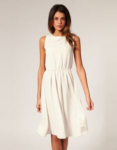 ASOS Midi Dress with Soft Skirt $60 Midi dress, featuring a high neckline, fitted stretch waist with a gathered finish and a keyhole design to reverse.