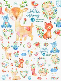 This Watercolor Spring Collection is just what you needed for the perfect… Watercolor Animals, Watercolor Paintings, Kids Graphic Design, Baby Illustration, Illustrations, Jar Art, Hello Spring, Cute Characters, Painting Inspiration
