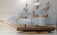 Driftwood Boat Morning Cloud by CroyCrafts