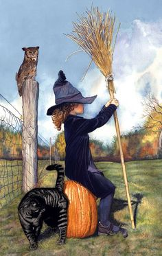 """Sunsout's """"Waiting for the Witching Hour"""", a 550 piece jigsaw puzzle, by Wesley Dallas Merrit; a little witch waits with her broom for Halloween night! Chat Halloween, Halloween Vintage, Samhain Halloween, Halloween Pictures, Holidays Halloween, Halloween Decorations, Halloween Artwork, Halloween Gourds, Halloween Moon"""