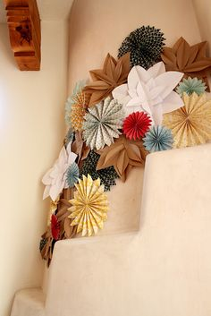 paper flowers and wheels for decor.