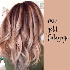 The Rose Gold Hair Color Had Been Up-And-Comming For The Spring 2019 Hair Season, However This Season Features A Rose Gold Balayage. Balayage Is. Hair Color Highlights, Ombre Hair Color, Hair Color Balayage, Blonde Balayage, Rose Gold Highlights, Blonde Fall Hair Color, Fall Hair Color For Brunettes, Hair Color Caramel, Pretty Hair Color