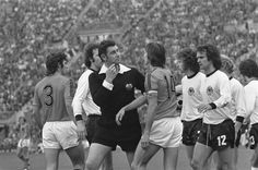 Referee Jack Taylor about to book Johan Cruyff for dissent. World Cup '74 Final