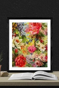 This floral arrangement draws the eye and creates a strong focal point for your space.Perfect as a complementing piece or as a print on its own. Dramatic Arts, International Artist, American Horror Story, Art World, Bold Colors, Printable Art, Floral Arrangements, Original Art, Strong