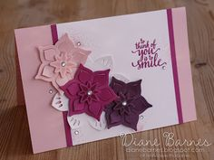 Clean & fresh handmade thank you card in shades of pink & purple, using Stampin' Up Eastern Beauty - Eastern Medallions stamp & die bundle & Layering Circle thinlits dies. Card by Di Barnes #colourmehappy Copied from original card by Lyssa Zwolanek. 2017-18 Annual Catalogue