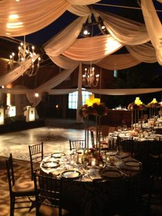 """...we installed a tent frame, but did not put the top covering or sides on it. This not only gave guests a star lit night with the secured feeling of a tent, but it also provided me the opportunity hang vintage inspired chandeliers and atmospheric light fixtures amongst the two colors of drapery."""