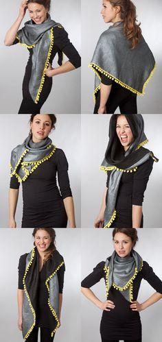 POM Amsterdam | Piece of Mine    manieren om de sjaal te dragen, er staan knoopinstructies bij zelfs :D