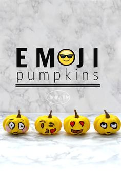 Emoji painted pumpkins for fall and Halloween! Via firsthomelovelife.com