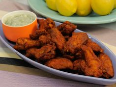 Supercharged Chicken Wings recipe from Geoffrey Zakarian via Food Network Meat Appetizers, Appetizer Recipes, Fall Appetizers, Dinner Recipes, Kitchen Recipes, Cooking Recipes, Chef Recipes, Yummy Recipes, The Kitchen Food Network