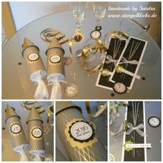 Silvester Tisch-Deko 2016 New Year's table decoration 2016 – stamping, punching and handicrafts with Stampin 'Up! Party Table Decorations, New Years Decorations, Decoration Table, New Years Eve Dinner, New Years Eve Party, Stampin Up, Deco Nouvel An, Diy Silvester, Party Silvester