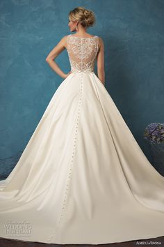 amelia sposa 2017 bridal sleeveless v neck heavily embellished bodice classic silk a  line wedding dress with pockets sheer lace back cathedral train (noemi) bv