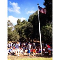 Daycamp and Outpost flag on the first day of camp; Summer 2014!  Check out more camp photos@ http://photos.tomsawyercamps.com
