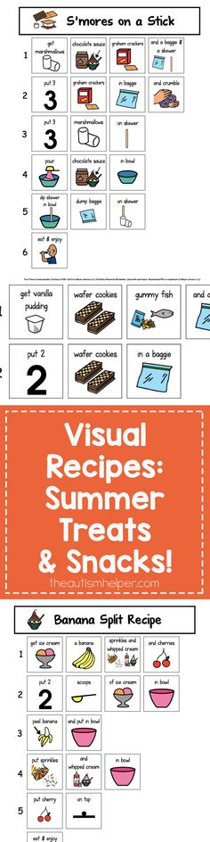Summer Treats and Snacks Visual Recipes are simple & will bring pure joy to your students.  From theautismhelper.com
