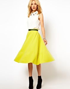 ASOS Midi Skirt In Ponte, love it with navy blazer, white/grey top & statement necklace (maybe even anthro one)