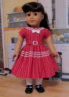 1950's Sweetheart Dress. Perfect for Valentine's Day- Made to fit American Girl Doll, By KeepersDollyDuds