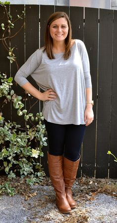 Piko Tops 3/4 Length Sleeve in Grey with skinny jeans and boots. Effortless but put together COMFORTABLE look. -Studio 3:19