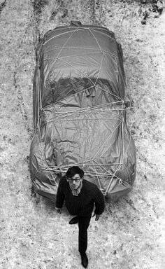 christo with wrapped car (volkswagen), 1963