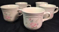 Pfaltzgraff-Tea-Rose-Set-Of-5-Cafe-Mugs-Coffee-Cups