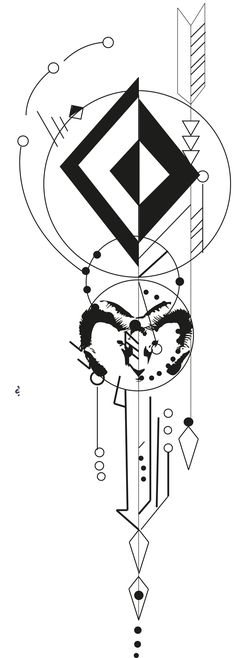 This abstract tattoo image shows various different sized triangular arrows pointing in different directions and circles of different sizes, some shaded while others are not. The center image shows the outline of what appears to be a ram& head. Trendy Tattoos, New Tattoos, Body Art Tattoos, Sleeve Tattoos, Stylish Tattoo, Geometric Compass, Geometric Arrow, Geometric Tattoo Design, Tattoo Sketches