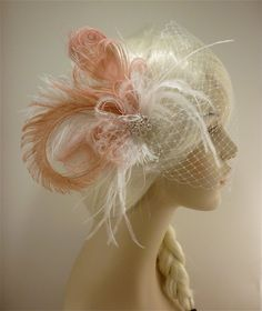 Feather Bridal Fascinator, Feather Fascinator, Bridal Fascinator, Rhinestone Hair clip, Wedding Veil, Fascinator - Fancy Peacock